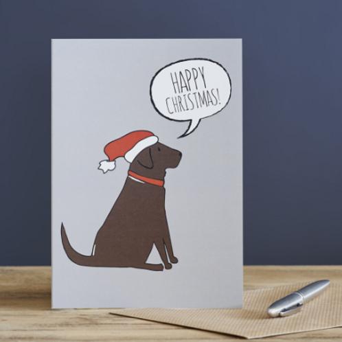 Christmas Card Chocolate Labrador