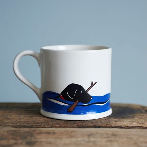 Black Labrador Swimming Mug