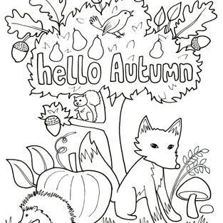 Hello Autumn  - Rutland Artist Sally Renner creates colouring picture