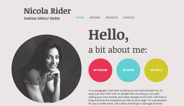 Portfolio CV Website Templates Wix
