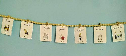 Lot de 7 cartes postales «jours de la semaine»