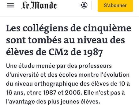 """""""Les collégiens de cinquième sont tombés au niveau des élèves de CM2 de 1987"""""""