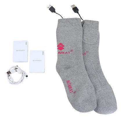 YENİ Alfaheat® 2000MAH Şarjlı Isıtmalı Çorap-Gri