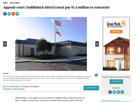 "OC Register Feature - ""Appeals court: Saddleback district must pay $1.4 million to contractor"""