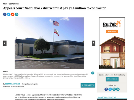 """OC Register Feature - """"Appeals court: Saddleback district must pay $1.4 million to contractor"""""""