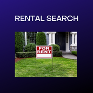 Rental Search - image of a home with a for rent sign in front.