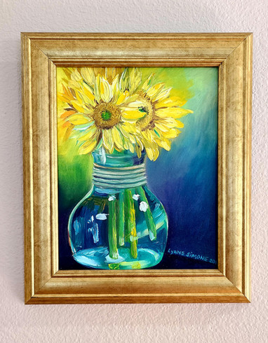 """""""Sunflowers in Teal"""""""