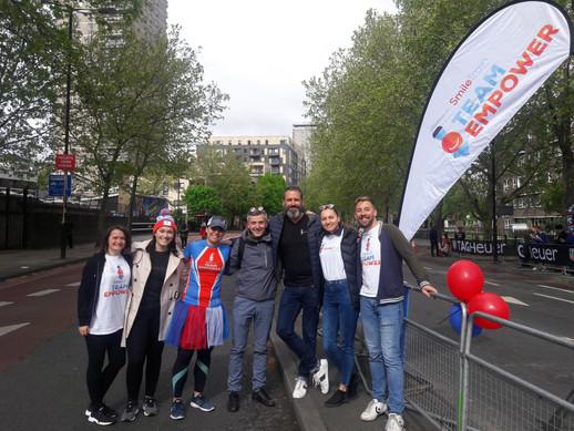 Cheering on the London Marathon runners in 2019