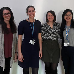 Born with a cleft lip and palate, the image shows Beth with the Cleft Net East team at Addenbrooke's Hospital