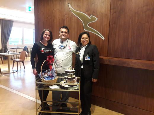 Celebrating World Smile Day with the Qantas Premium Lounge team at Heathrow