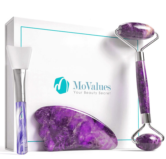 3-IN-1 AMETHYST ROLLER & GUA SHA SET