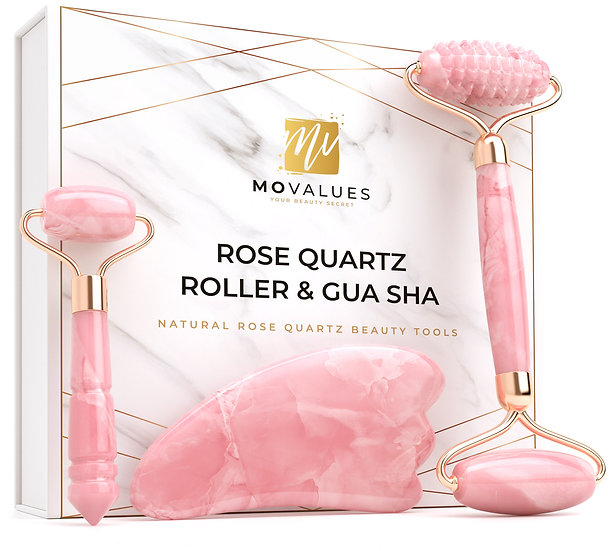 4-In-1 Rose Quartz Roller with Gua Sha, Ridge Roller, Mini Eye Roller set