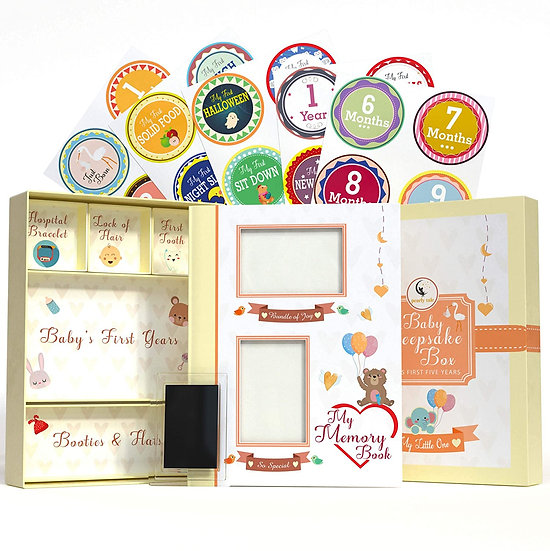 5-in-1 First Five Years Baby Memory Book with Keepsake Box
