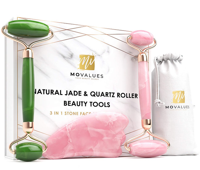 3-IN-1 Authentic Jade & Quartz Roller with Gua Sha set (USA ONLY)
