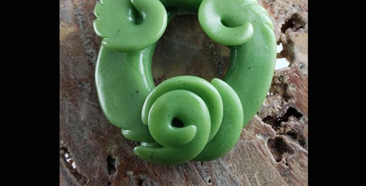 Faux Jade Circle Disc pendant