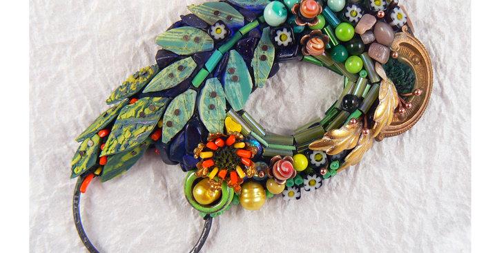 """SOLD  Portals series: """"Wonderland"""" brooch/pendant/wall art"""
