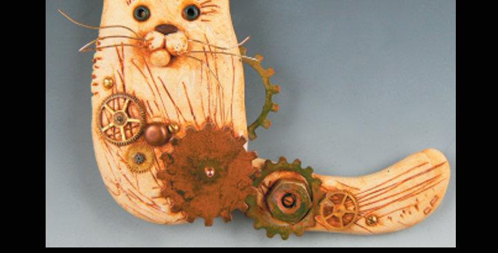 """""""SwishTail Cat"""" Brooch"""