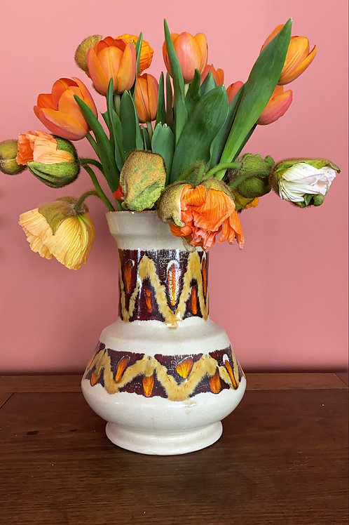 Vase beige vintage motifs orange