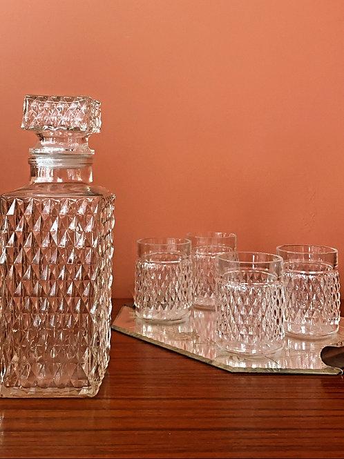 Service à whisky en verre ciselé