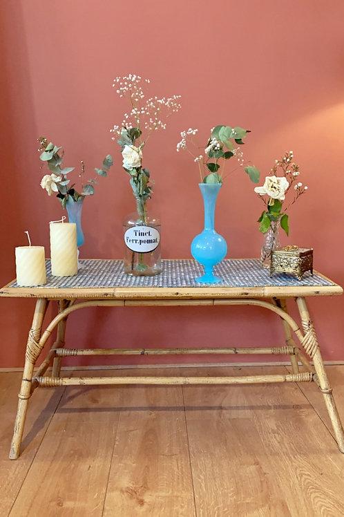Table en rotin et céramique 60s