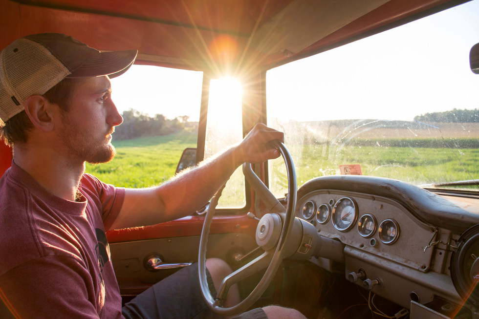 Troyer drives his truck along Farm Lane through fallow fields towards his campsite on Meyer Dairy Farm.