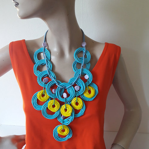Circles BlueYellow - necklace medium