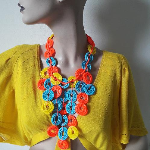 Circles YellowBleuFluor - necklace medium