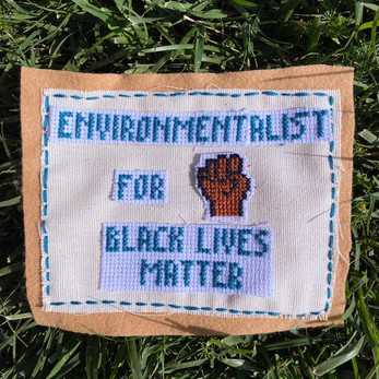 """The artist prefers to remain Anonymous   """"I'm using cross-stitching as a way to spark conversations within the Climate change and environmental activist movement. Social justice and climate justice are intertwined and I made this to show solidarity with the Black Lives Matter movement.""""  Instagram: @craftivism4climate"""