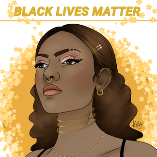 """By Haille Hughes  """"I've always loved the way yellow works with the skin tones of African Americans. It gives them a sort of powerful look, and that's what this is about: giving them their power, their equality, their real freedom, their justice, their safety. That's what we're fighting for, and I feel my artwork amplifies their power, and voice, and just the overall magic and beauty of who they are.""""  """"I'm a 14 year old girl born in Louisiana, raised in Tx. Im going into my sophomore year of high school pursuing art and law. Art is baiscly my life, and with everything going on, it feels good to use it for something good.""""  Instagram: @_haiart__"""