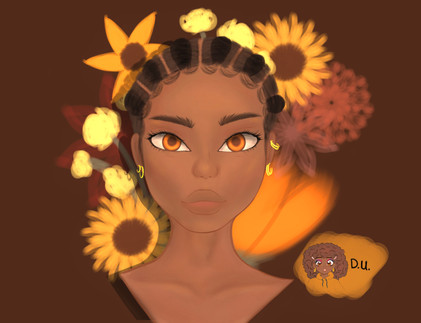 """By Destiny Ukachukwu  """"This piece was made in honour of black women.  • • • As a young black woman (Nigerian-American), I often have difficulty with embracing my features and understanding my placement in modern society. I created this piece in hopes of inspiring myself as well as other young women of color. • • • The subject of my digital work wears cornrows with 'laid' edges as her hairstyle; I wanted to combine a traditional hairstyle with a modern element of black hair. Further, the vibrant warm tones were included to inspire women of color to embrace their inner beauty and allow it to shine or glow—if you will—outward (like the eyes and flowers do).  • • • In the near future, I hope justice for women such as Breonna Taylor, Oluwatoyin Salau, and Sandra Bland is fulfilled. I hopefully await a future of equality and justice for all individuals regardless of color, sexuality, gender, religion, or socioeconomic status.""""  """"Hi! My name is Destiny, and my pronouns are she/her/hers. I am a 15 year old Nigerian-American, and I got into digital art 2 months  ago (this is my 4th piece). Thank you for viewing my work!""""  Instagram: @ukachihuahua.art"""