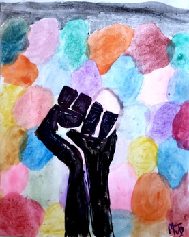 """By Manogna Jonnalagadda  """"This painting represents what this movement means to me. Before there was all this color, the canvas was blank and empty. The different colors made it beautiful and this is what Diversity mean to me. Furthermore, by fighting for the BLM movement we are actually fighting for a better future which is as beautiful as the colors in this painting.""""  """"I have portrayed myself as a very logical person as I was scared that people would judge my creative skills compared to someone else. What I truly believe is that art for me is a way to express myself so, it doesn't matter whether it works for someone else's standards as long as I like it.""""  Instagram: @manognaj114"""