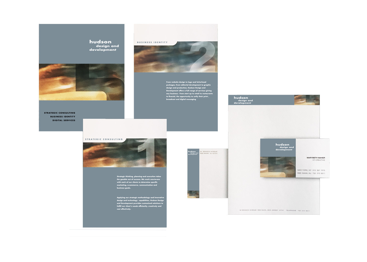 Letterhead, cards and brochure