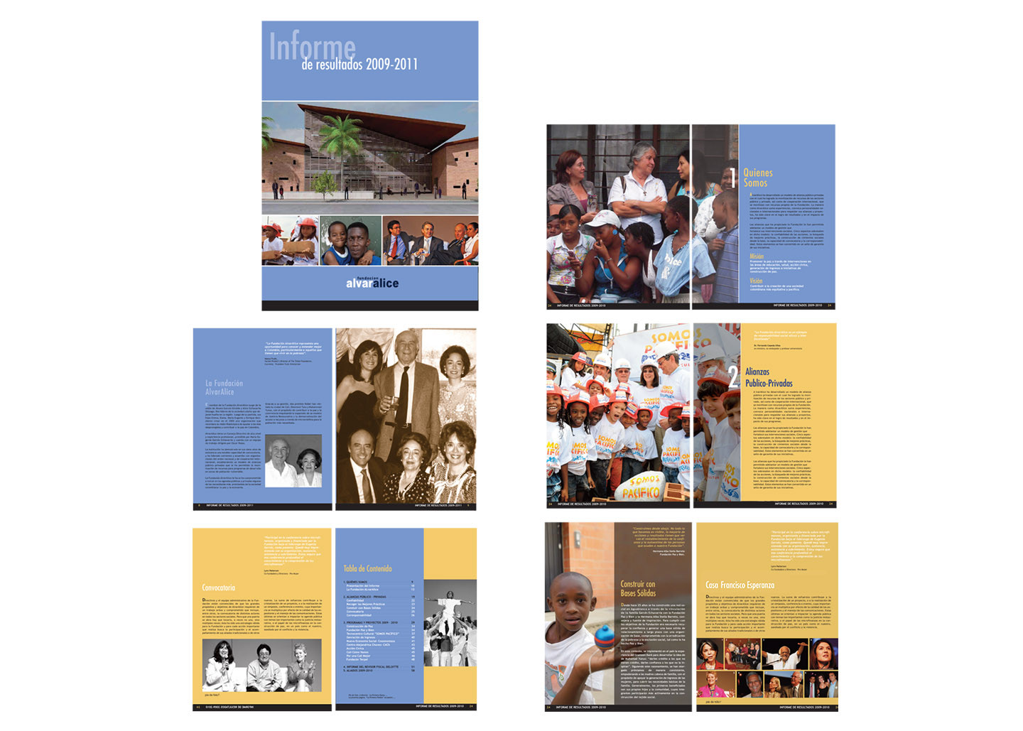 Pages from AlvarAlice Foundation annual report.