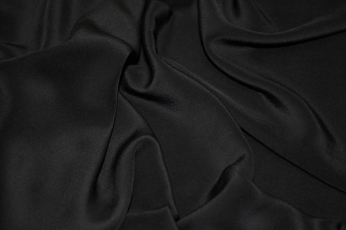 1002/1002001 Шелк-стрейч черный ширина 132см 97%шелк 3%эл