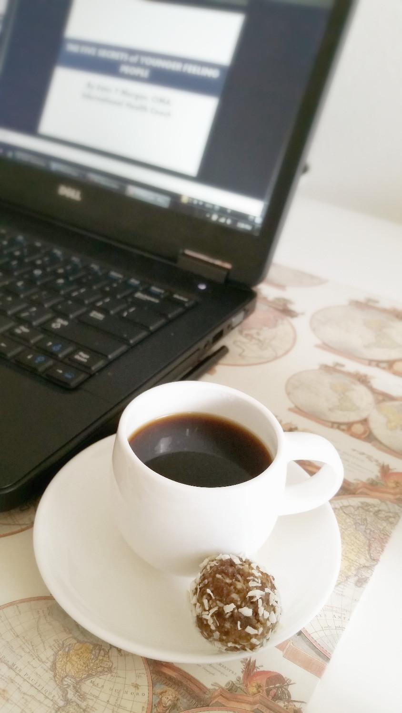 Coconut and Orange Energy Ball with Espresso coffee
