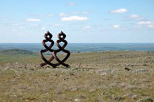 """Guardian Figures"",1991 –92, Corten Steel, 400cm high,Palmer Sculpture Landscape, South Australia."