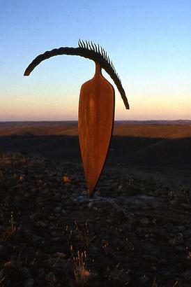 """Horizon Figure"", 1999–2000, Corten Steel, 290x76x400cm, Palmer Sculpture Landscape, South Australia."