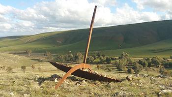 """""""Land Surfer"""", 2014, Corten Steel, Redgum, 305x375x315, Palmer Sculpture Landscape."""