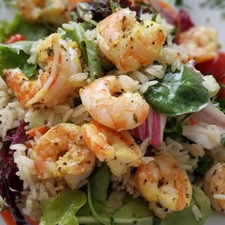 Sautéed lemon pepper shrimp salad with a