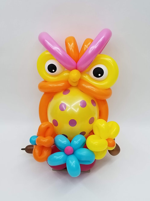 Bright Owl with Flowers