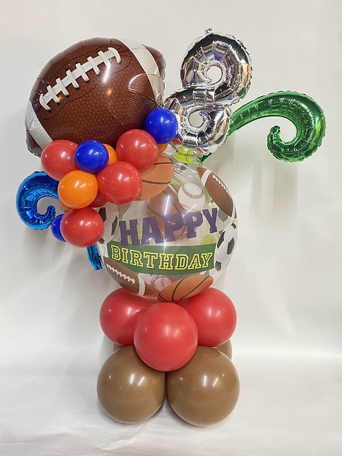Bubble with small number and themed balloon