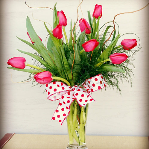 10 Tulips Vase Arrangement