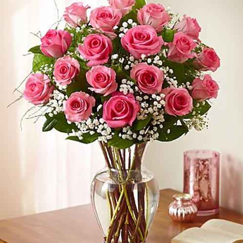2 Dozen Pink Rose Arrangement