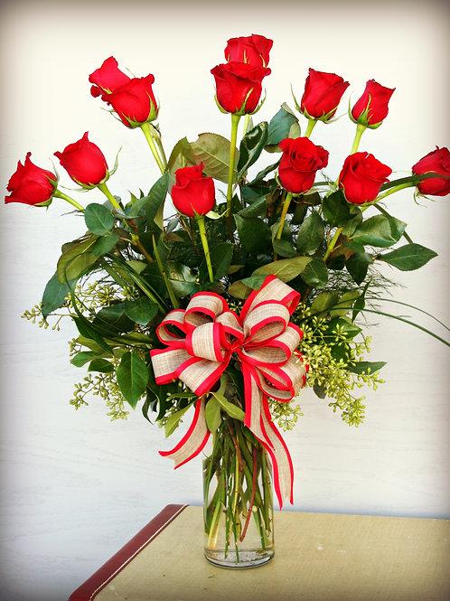 1 Dozen Red Rose Arrangement