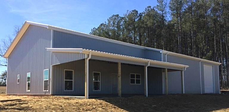 Pole barn house, metal trusses