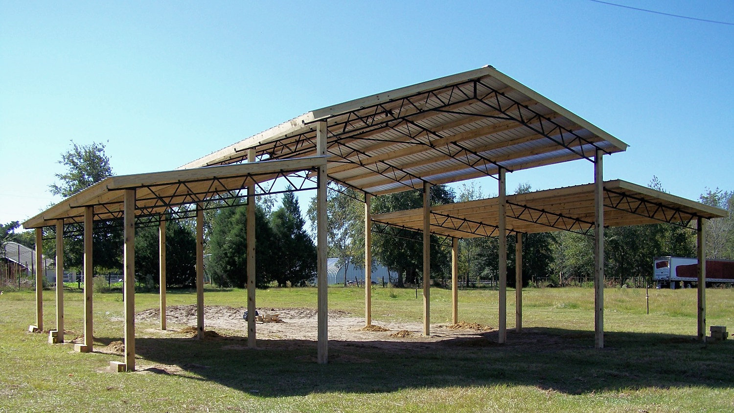 Pole barn kits florida metal trusses metal roof pole for Open pole barn
