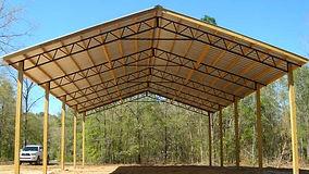 Backwoods Buildings open pole barn, post built structure, carport