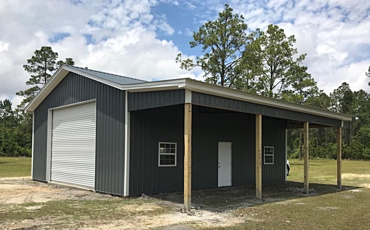 Metal truss pole barn enclosure