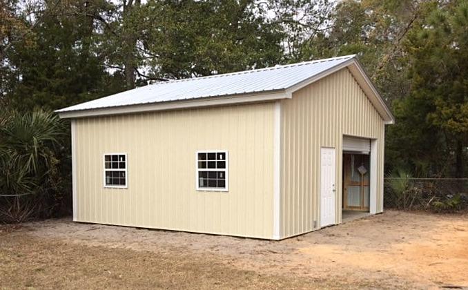 Pole barn metal trusses, metal roof
