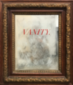 mirror, vanity, decal, found object, art